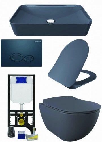 ZESTAW 5w1 CREAVIT, antracyt ultra mat RIMLESS: Umywalka nablatowa + Miska WC podwieszana bezkołnierzowa + deska soft-close + przycisk TERRA + Stelaż podtynkowy, Regulacja 180-230 mm, 3/6L, 300kg