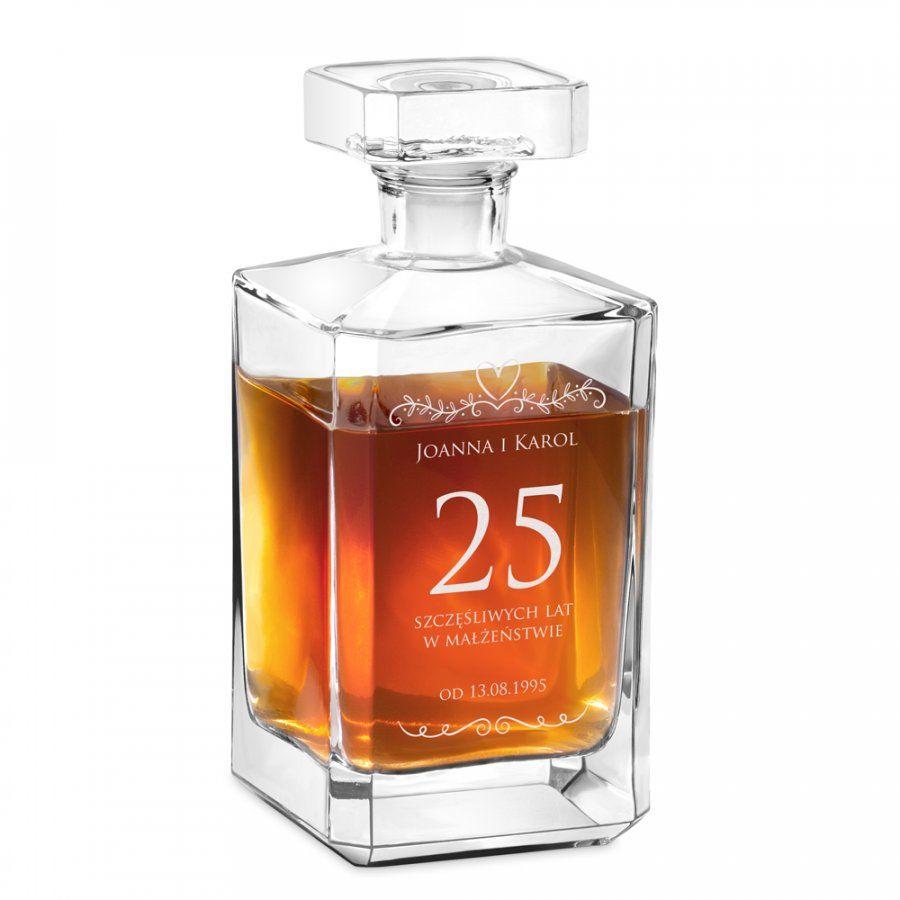 Karafka szklana burbon z grawerem dla pary na 25 rocznicę