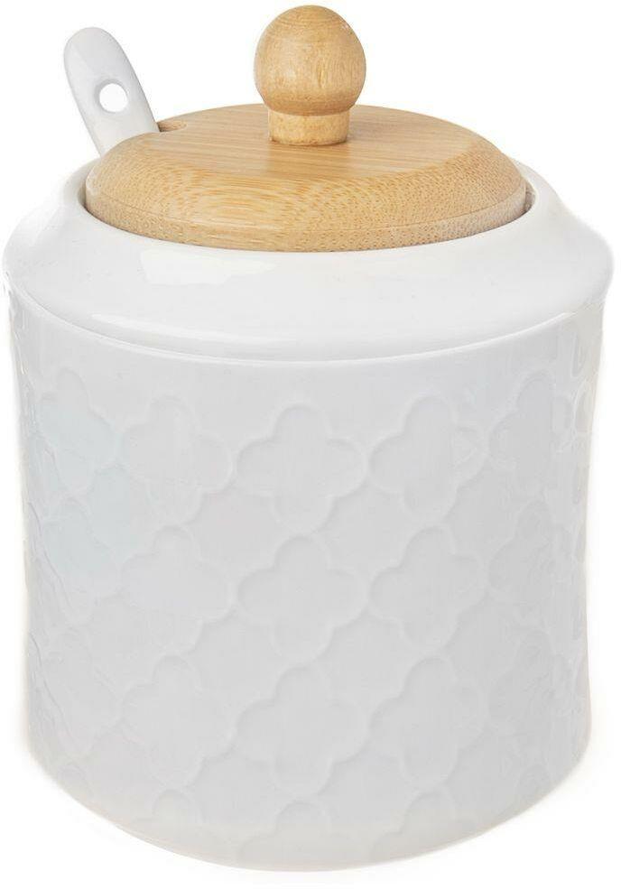 Cukierniczka porcelanowa z łyżeczką i pokrywką bambusową cukiernica pojemnik na cukier 11,5 cm