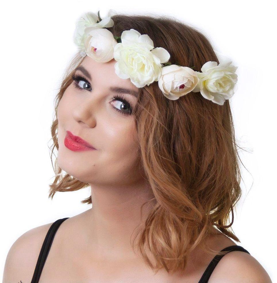 Wianek na głowę piwonie kwiaty biały ślubny