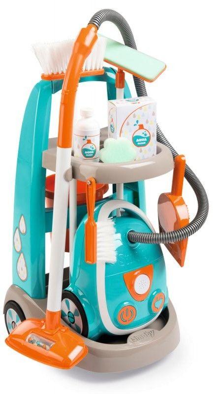 Smoby Wózek do sprzątania z akcesoriami odkurzacz dla dzieci