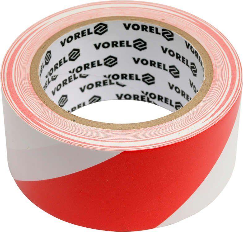 Taśma ostrzegawcza, klejąca, biało/czerwona 48 mm x 33 m Vorel 75230 - ZYSKAJ RABAT 30 ZŁ