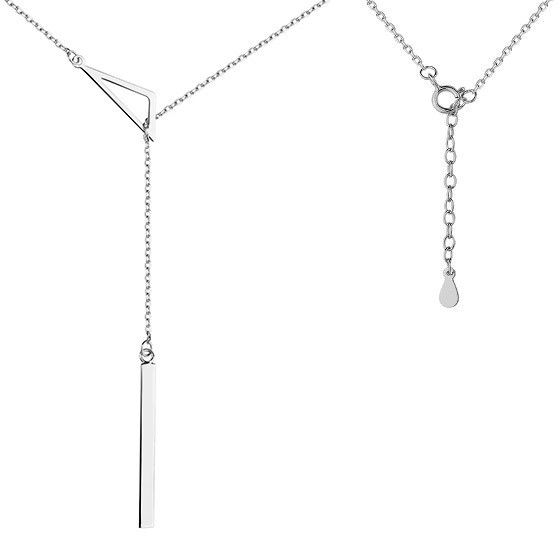 Srebrny rodowany naszyjnik gwiazd celebrytka krawatka trójkąt triangle sztabka blaszka srebro 925 Z1497N