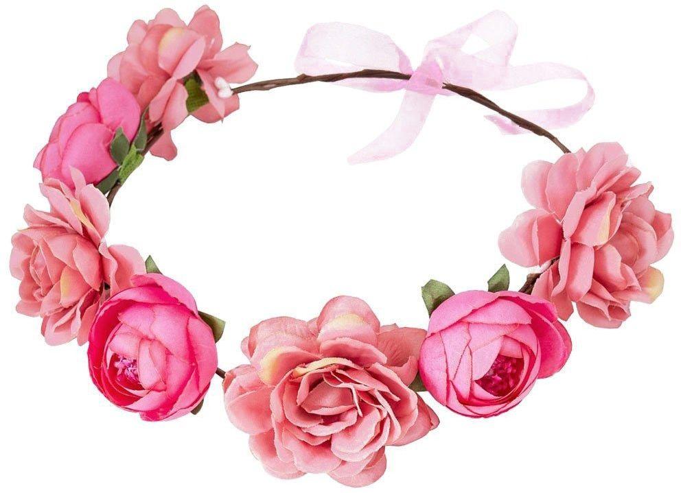 wianek na głowę piwonie kwiaty różowy ślubny