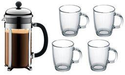 Bodum K1928-16COS Chambord zestaw zaparzaczy do kawy o pojemności 1,0 l ze stali nierdzewnej i 4 szklanki do bistro, pojemność 0,35 l, wielowarstwowe, czarne