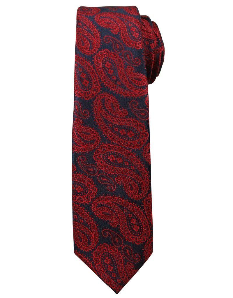 Modny i Elegancki Krawat Alties - Duży, Czerwony Wzór Paisley KRALTS0169