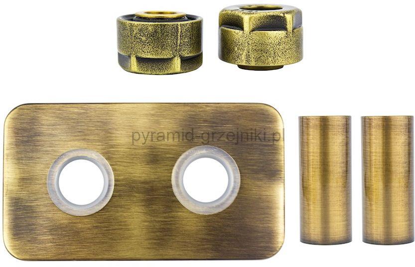 Zestaw maskujący rozety + tuleje + złączki Cu/Pex x GW3/4 - mosiądz antyczny instalacja miedziana -CU rozeta prostokątna