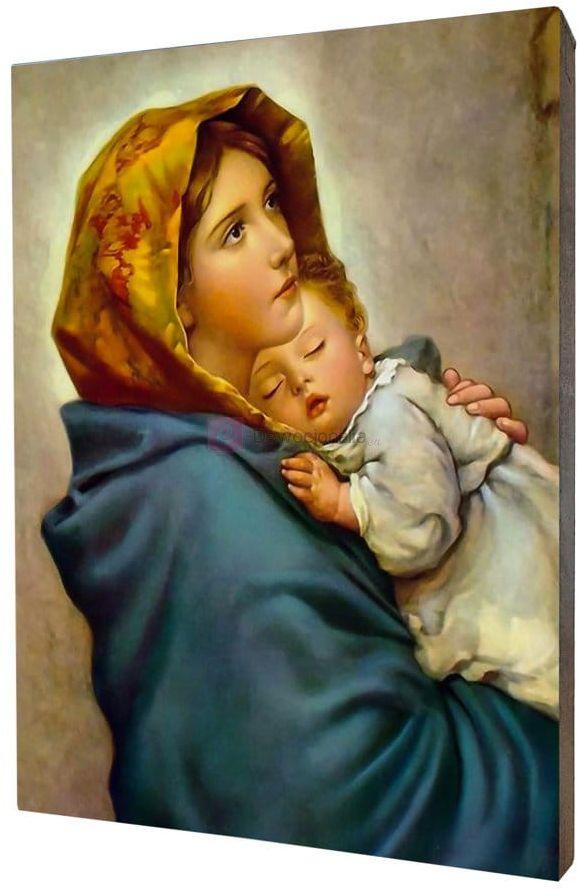 Obraz na desce lipowej - Matka Boska Cygańska 15x20