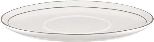 Ambition 99315 spodek do sosów Aura Silver 20,5 cm porcelana spodek do sadzonek podstawka pod łódź sosy podstawka do serwowania zastawa elegancka nowoczesna