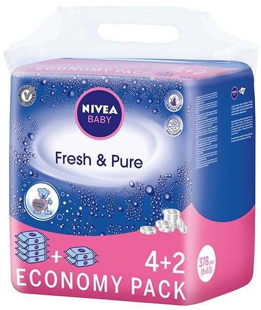 Nivea Baby Chusteczki Fresh & Pure 6 x 63szt (4+2)