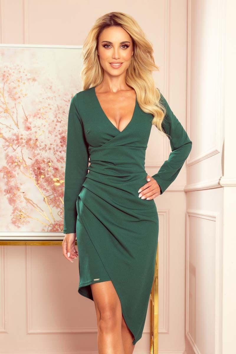 Asymetryczna sukienka kopertowa z drapowaniem - zielona