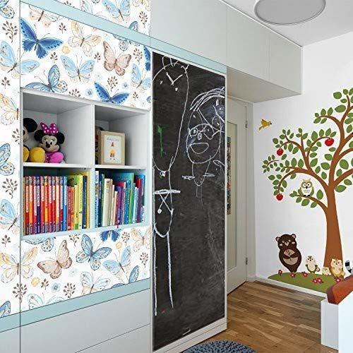 WALPLUS kreatywny zestaw motyli wzór i tablica samoprzylepna naklejka ścienna, winylowa wielokolorowa, 64 x 5,5 x 5,5 cm