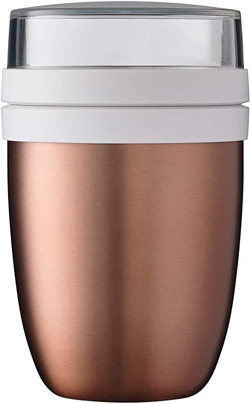 Mepal Pojemnik na lunch Ellipse różowy złoty  500 ml praktyczny termiczny pojemnik na jogurt, kubek na wynos  długo utrzymuje ciepło lub chłód, polipropylen, 500 + 200 ml