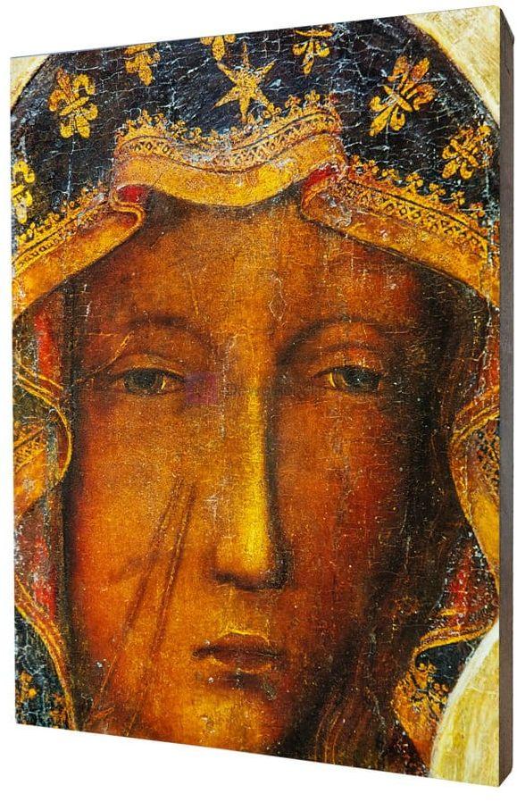 Obraz na desce lipowej - Matka Boska Częstochowska 15x20
