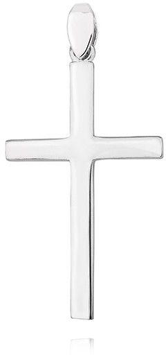 Delikatny rodowany srebrny gładki polerowany krzyżyk krzyż srebro 925 KS0199C