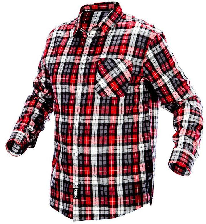 Koszula flanelowa krata czerwono-czarno-biała, rozmiar L 81-540-L