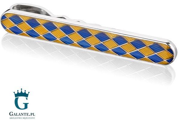 Żółto-niebieska spinka do krawata sk-0019