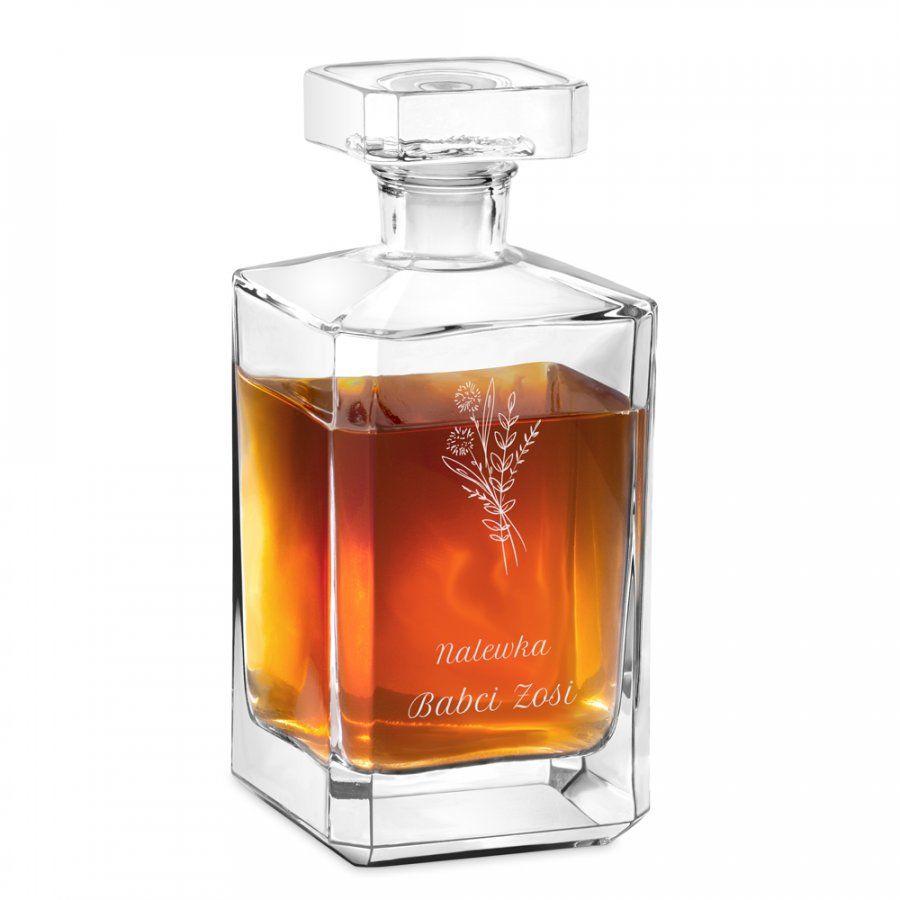 Karafka szklana burbon z grawerem dla babci