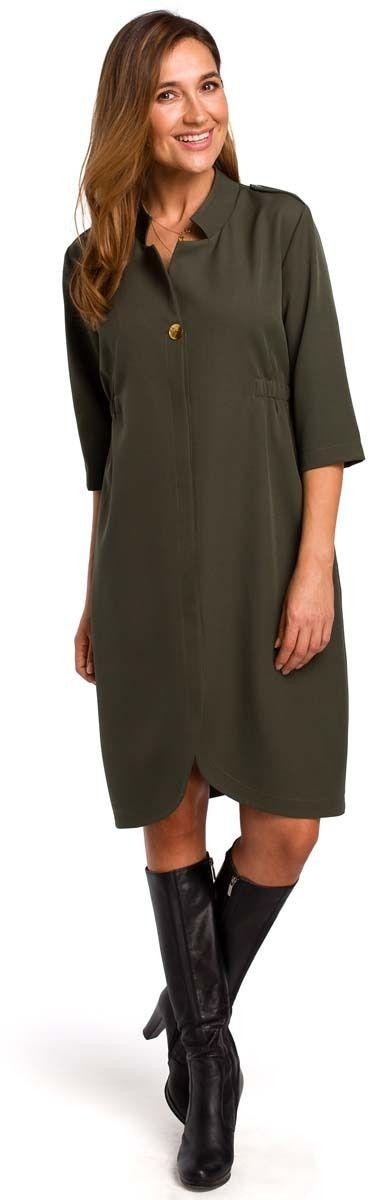 Khaki elegancka sukienka żakietowa z pagonami