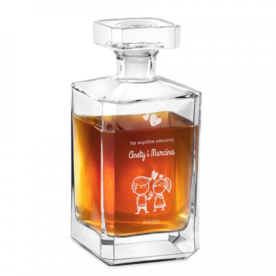 Karafka szklana burbon z grawerem dla pary na ślub rocznicę walentynki