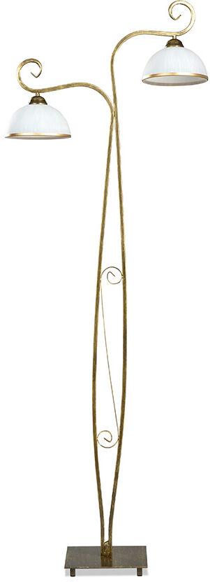 Emibig WIVARA LP2 GOLD 149/LP2 lampa podłogowa klasyczna złota szklane białe klosze E27 2x60W 160cm