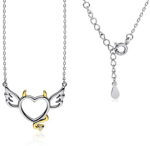 Rodowany srebrny naszyjnik gwiazd celebrytka serce diabełek biała cyrkonia srebro 925 Z1717NGR