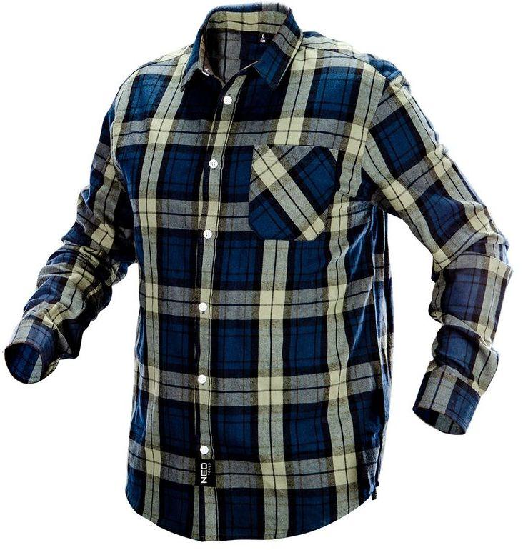 Koszula flanelowa granatowo-oliwkowo-czarna, rozmiar S 81-541-S