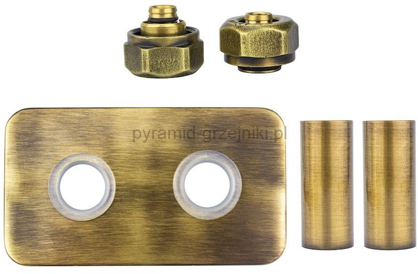 Zestaw maskujący rozety + tuleje + złączki Cu/Pex x GW3/4 - mosiądz antyczny instalacja alu-pex - PEX rozeta prostokątna