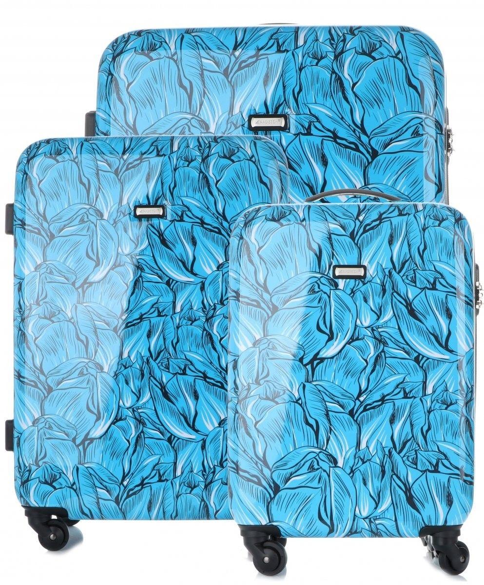 Modny i Solidny Zestaw Walizek 3w1 renomowanej marki Madisson Multikolor - Niebieski (kolory)