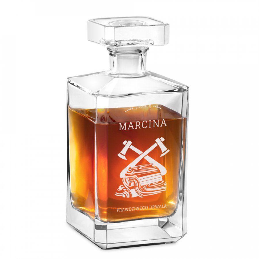 Karafka szklana burbon z grawerem dla drwala