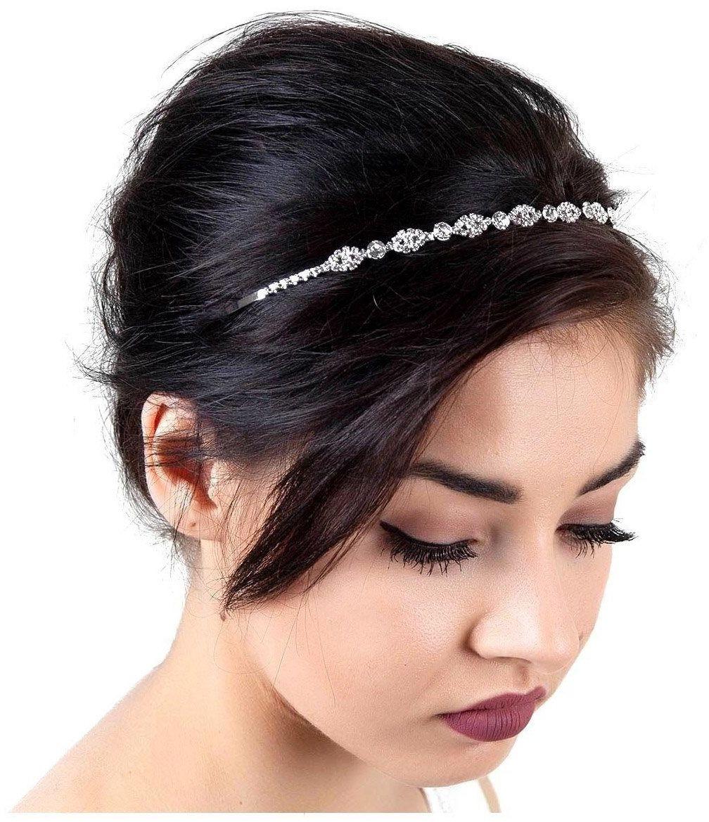 Ozdoba ślubna do włosów opaska srebrna kryształki