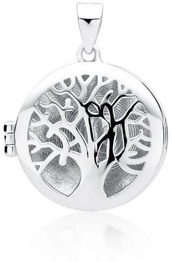 Delikatny rodowany srebrny otwierany okrągły wisiorek puzderko sekretnik drzewo życia tree srebro 925 Z1772
