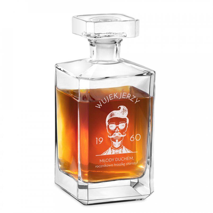 Karafka szklana burbon z grawerem dla wujka na 60 urodziny