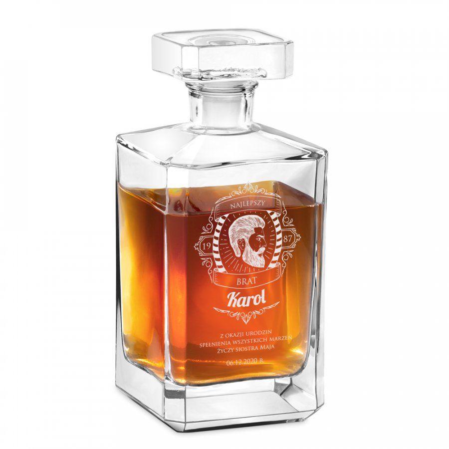 Karafka szklana burbon z grawerem dla brata na urodziny