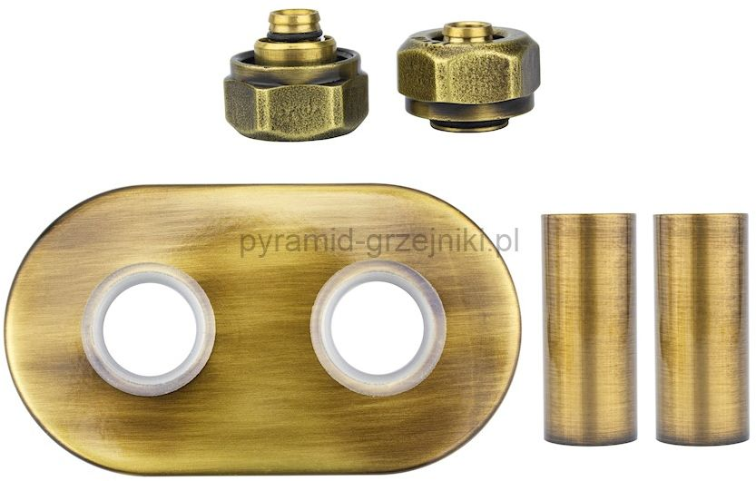 Zestaw maskujący rozety + tuleje + złączki Cu/Pex x GW3/4 - mosiądz antyczny instalacja alu-pex - PEX rozeta owalna