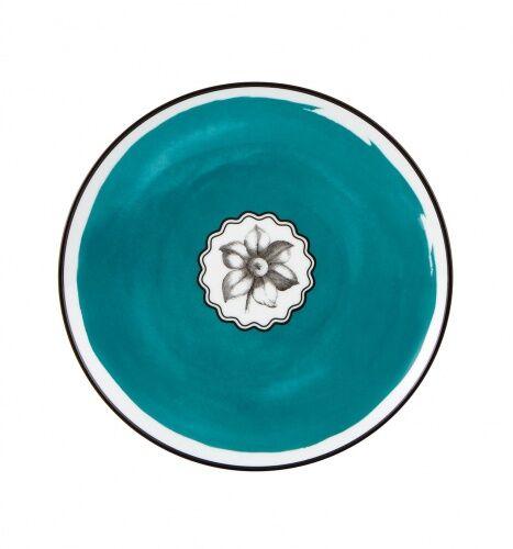 Niebieski talerz deserowy Herbariae Vista Alegre
