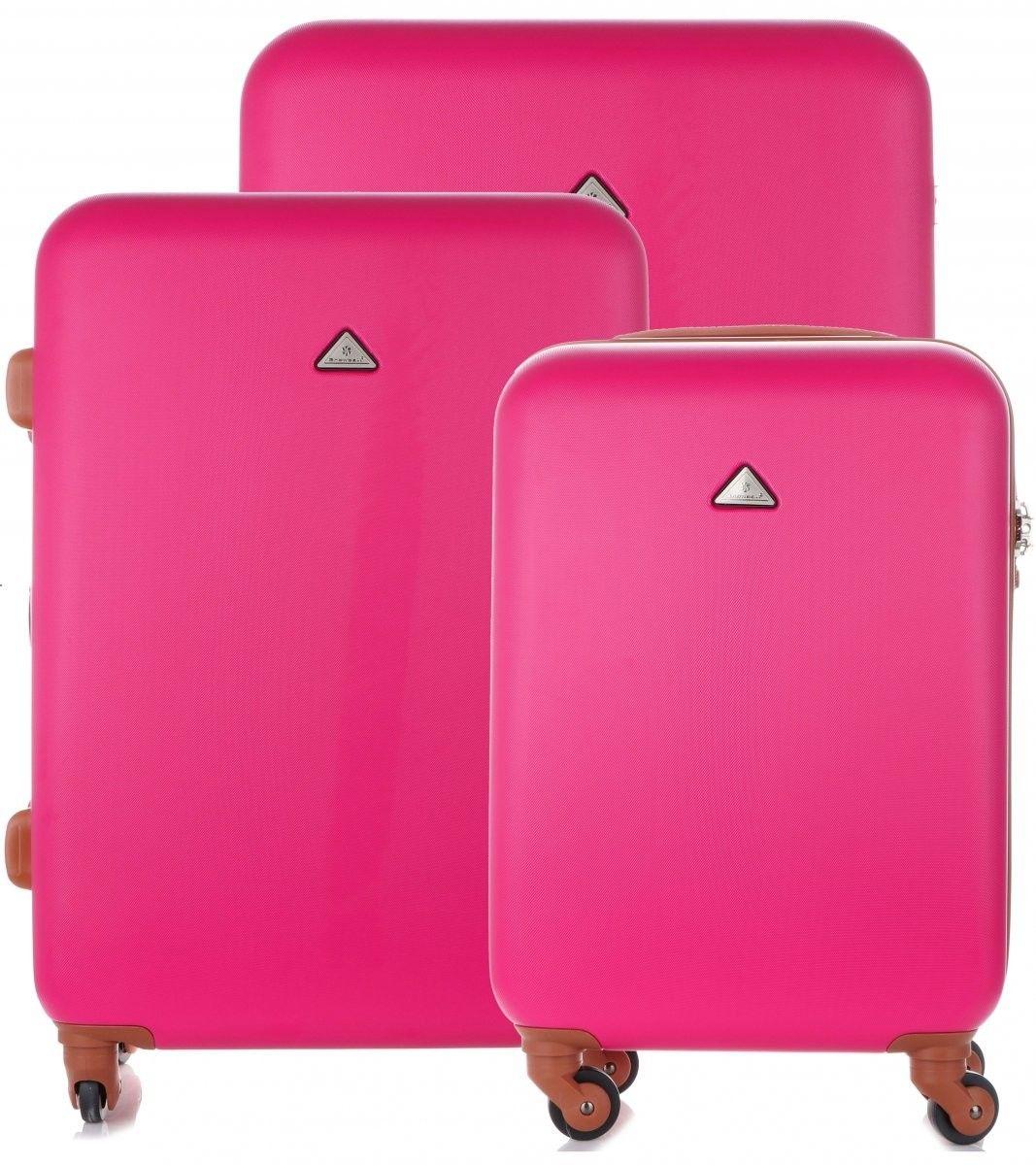 Elegancki i Solidny Zestaw Walizek 3w1 firmy Snowball Różowy (kolory)