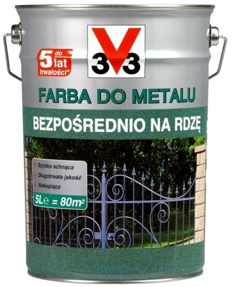 Farba do metalu V33 bezpośrednio na rdzę matowy ciemny grafitowy 5 l