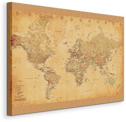 Obraz - Mapa Świata - (Vintage Style) - 90x120 cm
