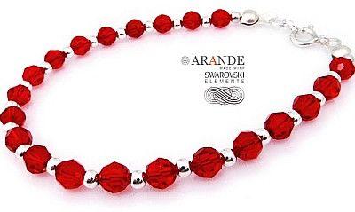 Swarovski Piękna Bransoletka Red Crystal Srebro