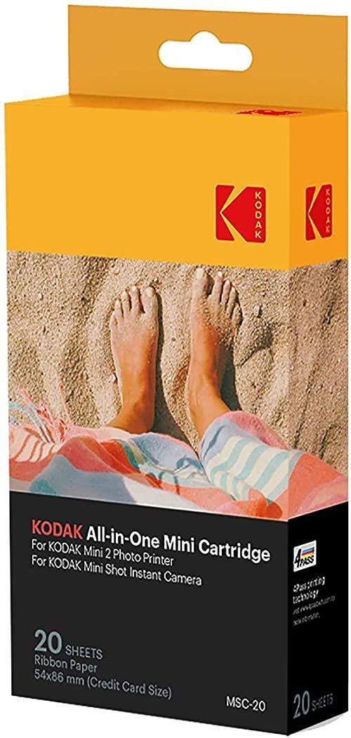 Kodak Mini drukarka fotograficzna MC  papier All-in-One i kolorowy wkład atramentowy  zestaw 20 sztuk  kompatybilny z mini kamerą Shot i mini 2 drukarkami
