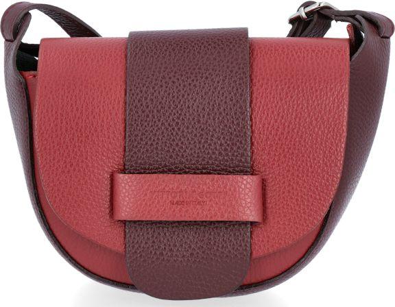 Uniwersalne Torebki Skórzane Listonoszki firmy Vittoria Gotti Czerwona z bordowym (kolory)
