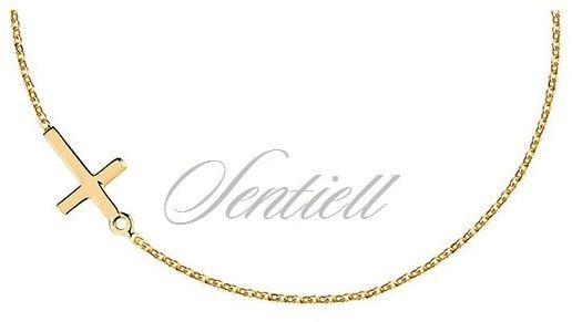Srebrny naszyjnik pr.925 z krzyżykiem, pozłacany - żółte złoto