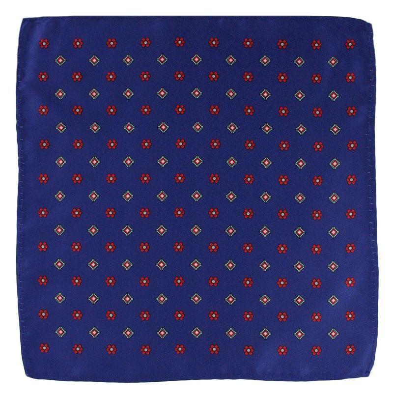 Niebieska Elegancka Męska Poszetka -ALTIES- w Czerwone Kwiatki POSZALTTANIA0232