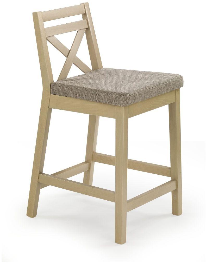 BORYS LOW krzesło barowe niskie dąb sonoma / tap. Inari 23 Halmar