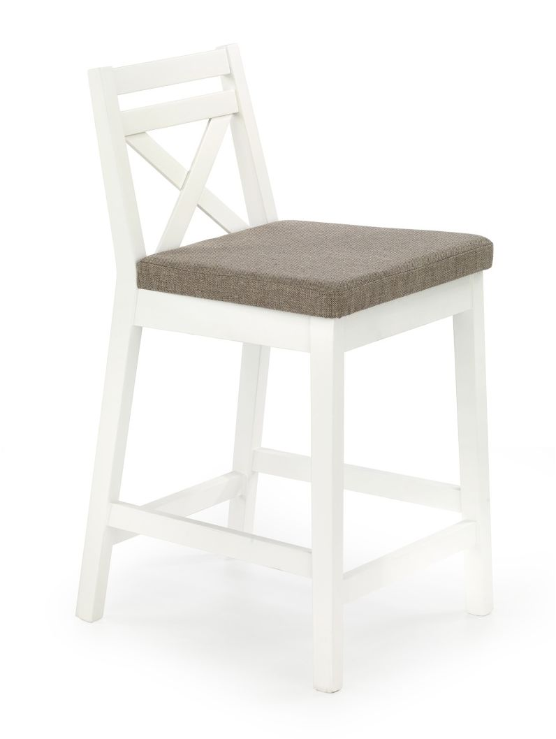 BORYS LOW krzesło barowe niskie biały / tap. Inari 23 Halmar