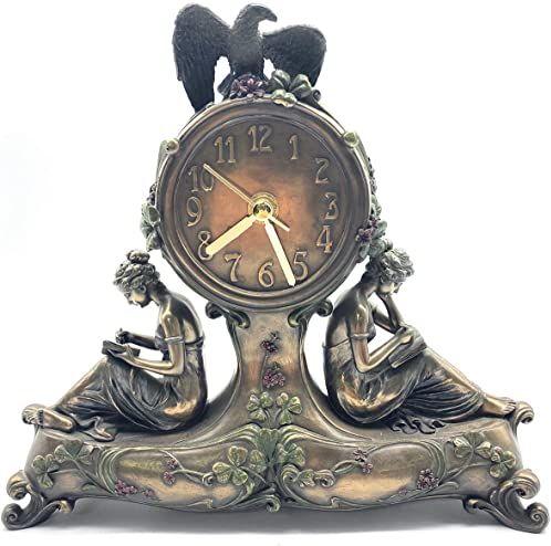 Veronese Kolekcja, ręcznie malowany zegar stołowy, 26 x 6 x 24 cm twarda żywica poliestrowa (mieszanka proszku marmuru) zegar biurkowy
