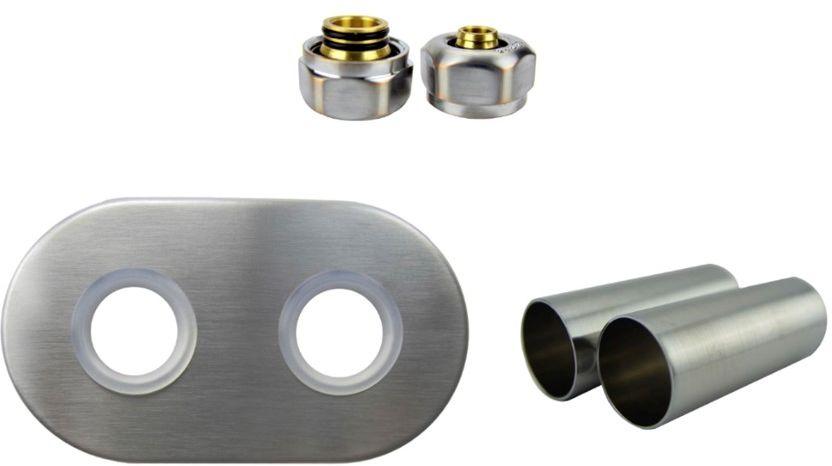 Zestaw maskujący rozety + tuleje + złączki Cu/Pex/GZ1/2 x GW3/4 - nikiel szlifowany instalacja alu-pex - PEX rozeta owalna