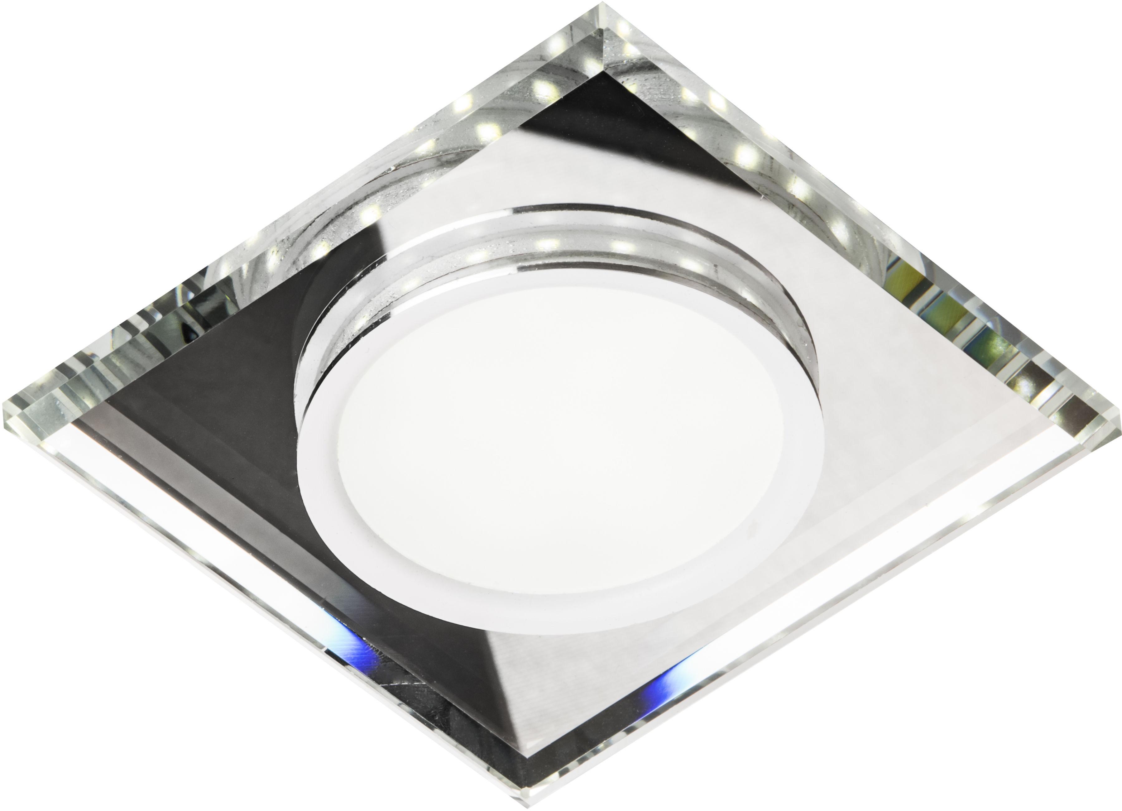 Candellux SSP-22 CH/TR+WH 2263885 oprawa do wbudowania stropowa biały 8W LED 230V RING LED oczko sufitowe kwadratowa szkło transparentne 11,2cm