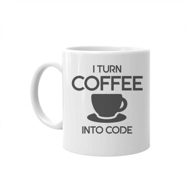 I turn coffee into code - kubek z nadrukiem